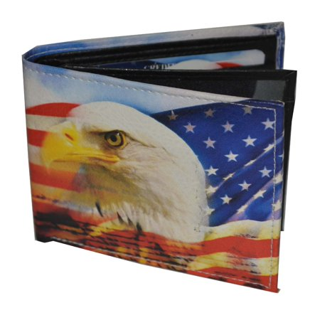 Mens Bifold Exotic Wallet US flag and eagle with printed gift box.