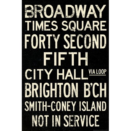 New York City Times Square Broadway Vintage Subway Retro Metro Print Wall (New York City Stores In Times Square)