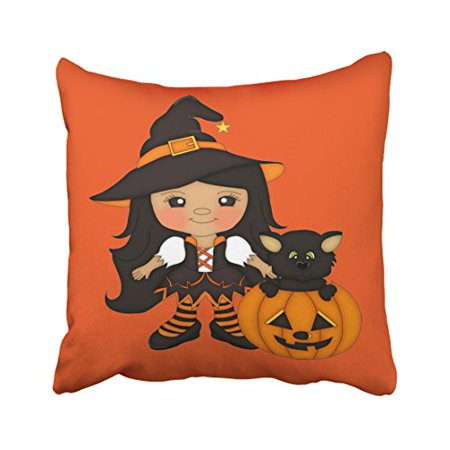 WinHome Decorative Pillowcases Cute Witch With Cat In A Pumpkin Halloween Throw Pillow Covers Cases Cushion Cover Case Sofa 18x18 Inches Two Side