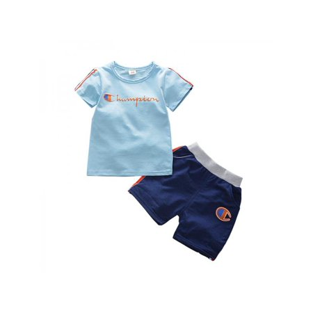 ec0bcfb136 Topumt Baby Kids Boys Casual Cotton Letter Print Short Sleeve T-shirt +  Shorts Pants Summer Clothes