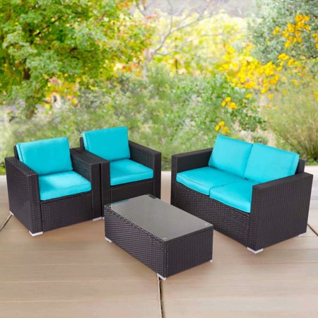Kinbor 4pcs Outdoor Patio Furniture Pe Wicker Rattan Sofa Sectional Set Blue ()