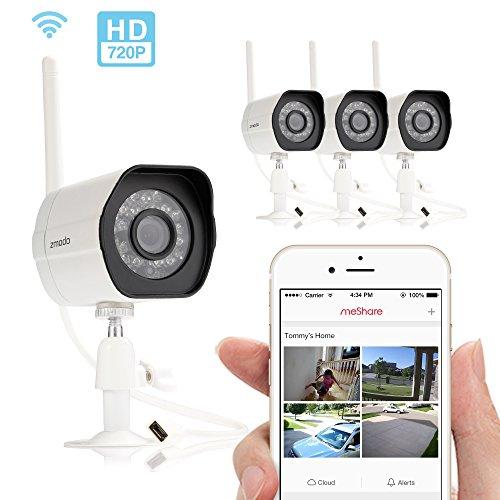 Zmodo Smart Wireless Security Cameras 4 Pack HD IndoorOutdoor