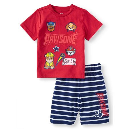 Paw Patrol Toddler Boys' T-Shirt and Shorts, 2-Piece Outfit Set