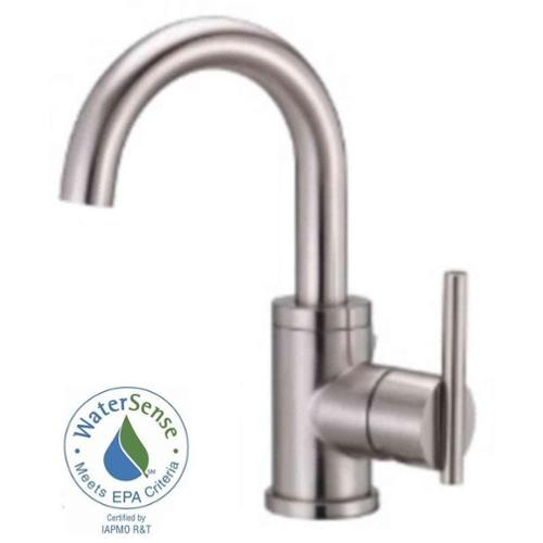 Parma Single Hole 1-Handle Mid-Arc Bathroom Faucet with Side Handle in Brushed Nickel