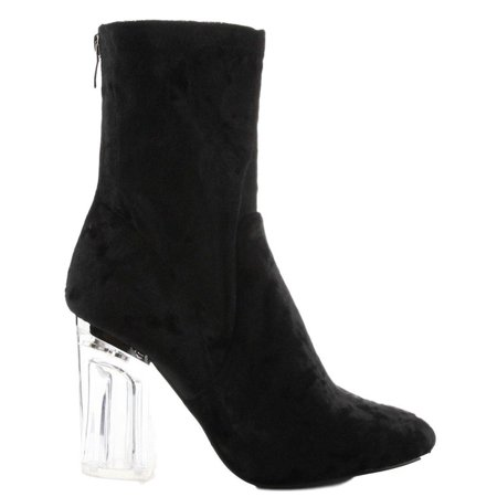 e510410aeeab Cape Robbin - Cape Robbin Fay-11 Closed Toe Crushed Velvet Block Clear  Perspex Heel Ankle Boot Bootie Black (7) - Walmart.com