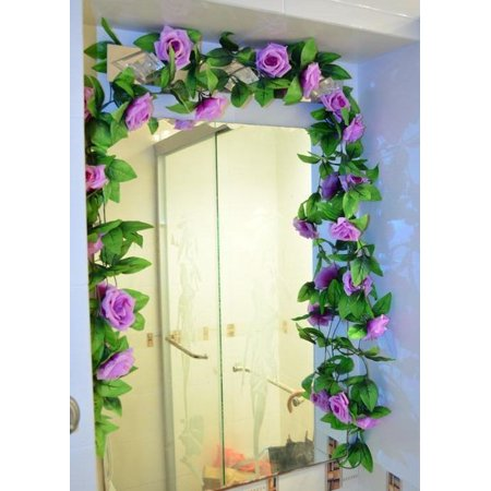 Artificial Fake Rose Silk Flower Green Leaf Vine Garland Ivy Vine Hanging Garland Home Wall Party Decor Wedding Garden Decoration Bouquet House Decor 240cm Light Pink Color:Light Purple