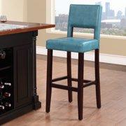 Linon Vega Bar Stool, Aegean Blue, 30 inch Seat Height by Linon