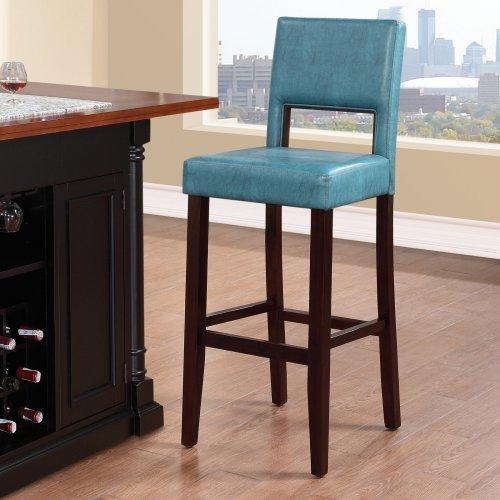 Linon Vega Bar Stool, Aegean Blue, 30 Inch Seat Height