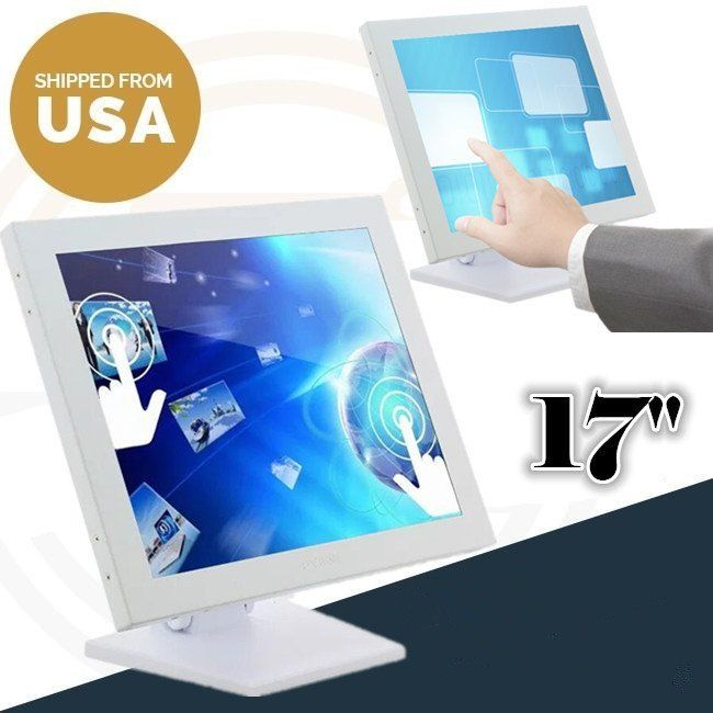 LED Monitor 17-Inch Touch Screen Display, 1280 X 1024 VOD PC POS Cashier for Retail Restaurant Bar Coffee Store, USB Interface
