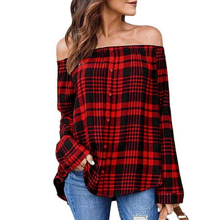 d7ca21c50b4 Vista - Women Off Shoulder Button Down Shirt Plaid Tops Long Sleeve T-Shirt  Blouse - Walmart.com