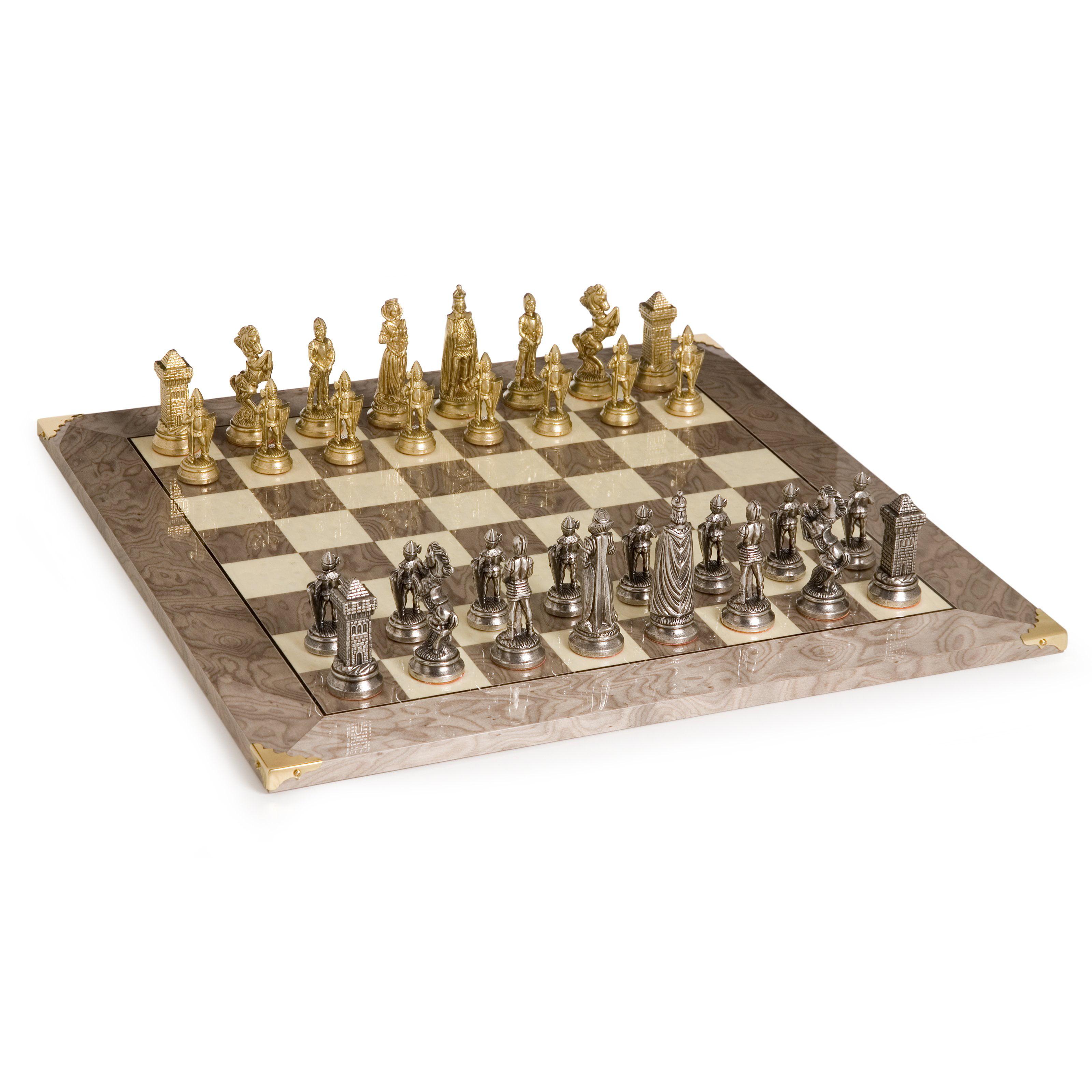 Victorian Brass & Silver Chess Set