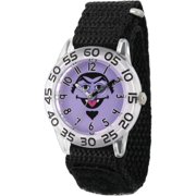 Count von Count Boys' Clear Plastic Time Teacher Watch, Black Hook and Loop Nylon Strap