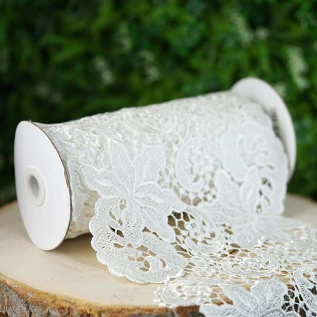5 Yards 79 White Calming Lotus Flower Crocheted Lace Ribbon Trim