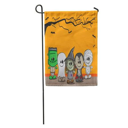 SIDONKU Orange Cartoon Cute Halloween Frankenstein Ghost Witch Dracula Mummy Child Garden Flag Decorative Flag House Banner 12x18 inch