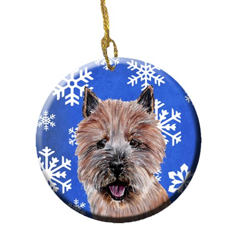Norwich Terrier Winter Snowflakes Ceramic Ornament
