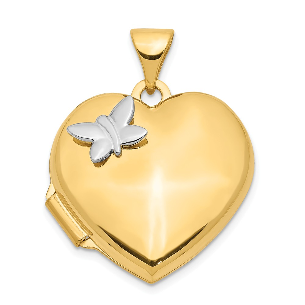 14k Two-Tone Gold 18mm Heart with butterfly Locket