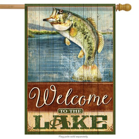 Welcome to the Lake House Flag Great Outdoors Fish Bass Wildlife 28