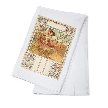Ages of Man (Youth) Calendar Vintage Poster (artist: Mucha, Alphonse) France c. 1899 (100% Cotton Kitchen (Calendar Linen Tea Towel)