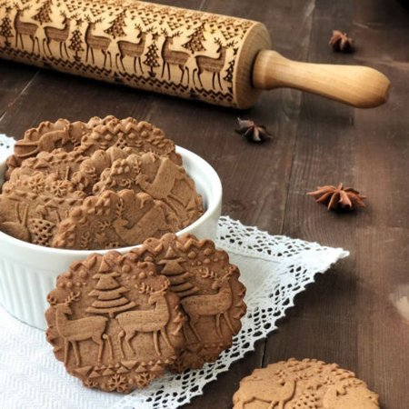 Christmas Gift Pattern Embossing Rolling Pin Gingerbread Cookies For Kitchen DIY - image 3 of 5