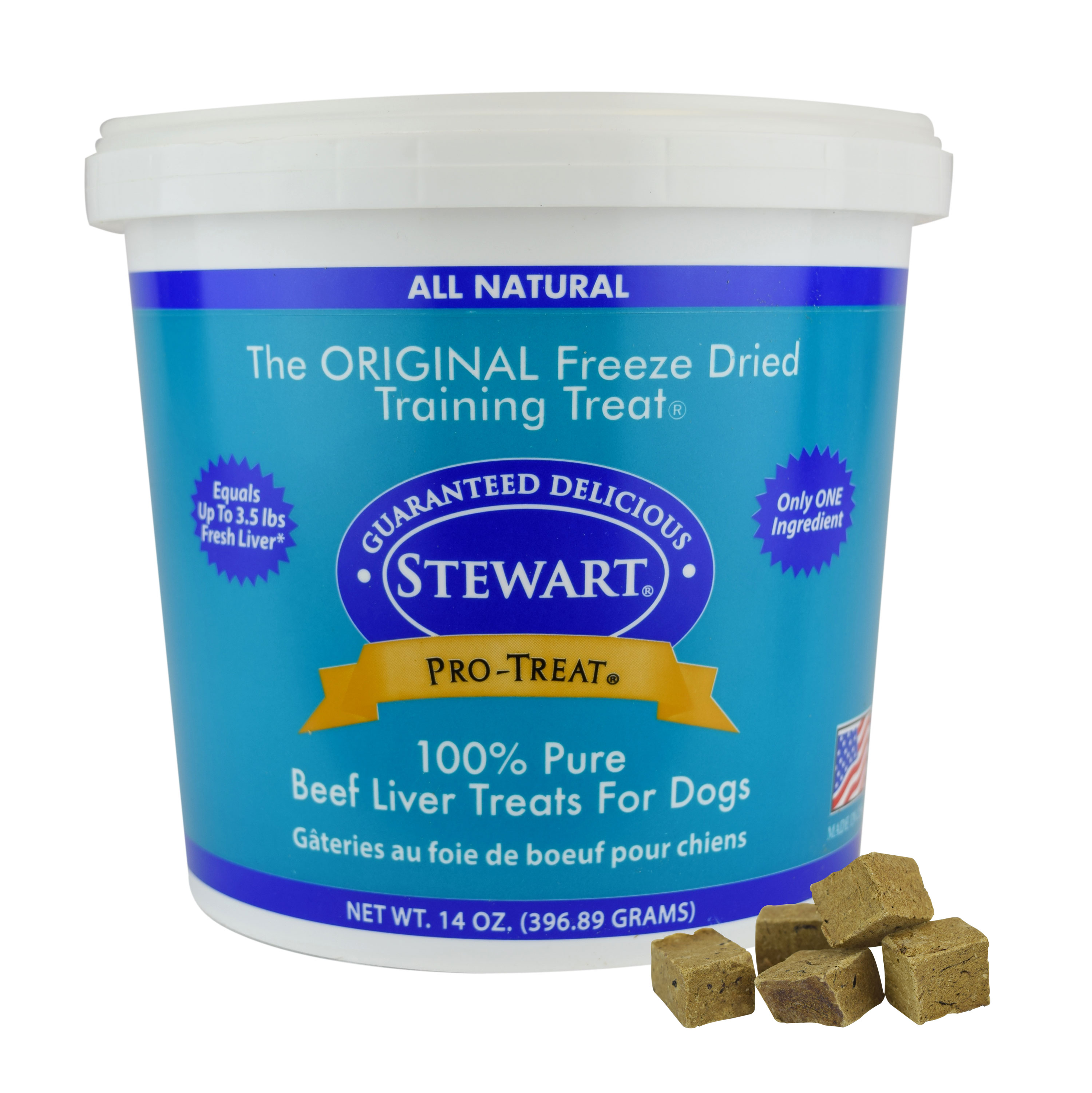 Stewart Pro-Treat Freeze Dried Beef Liver 14 oz. Tub