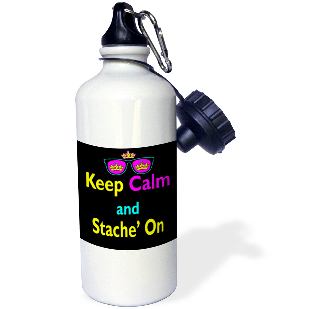 3dRose CMYK Keep Calm Parody Hipster Crown And Sunglasses Keep Calm And Stache Mustache On, Sports Water Bottle, 21oz