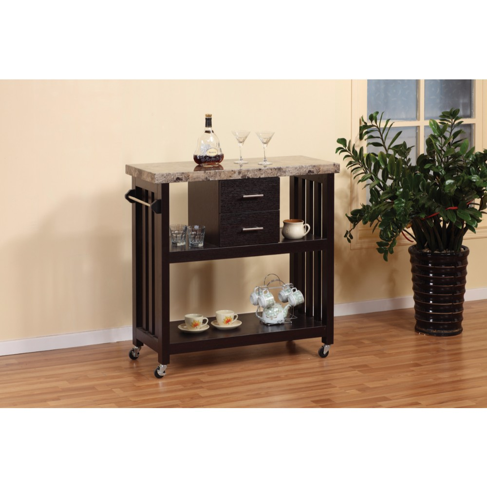 Contemporary Style Kitchen Cart With Faux Marble Top U0026 2 Drawers.    Walmart.com