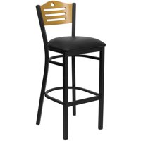"Metal Cut Out Bar Stool 32"", Black and Natural"
