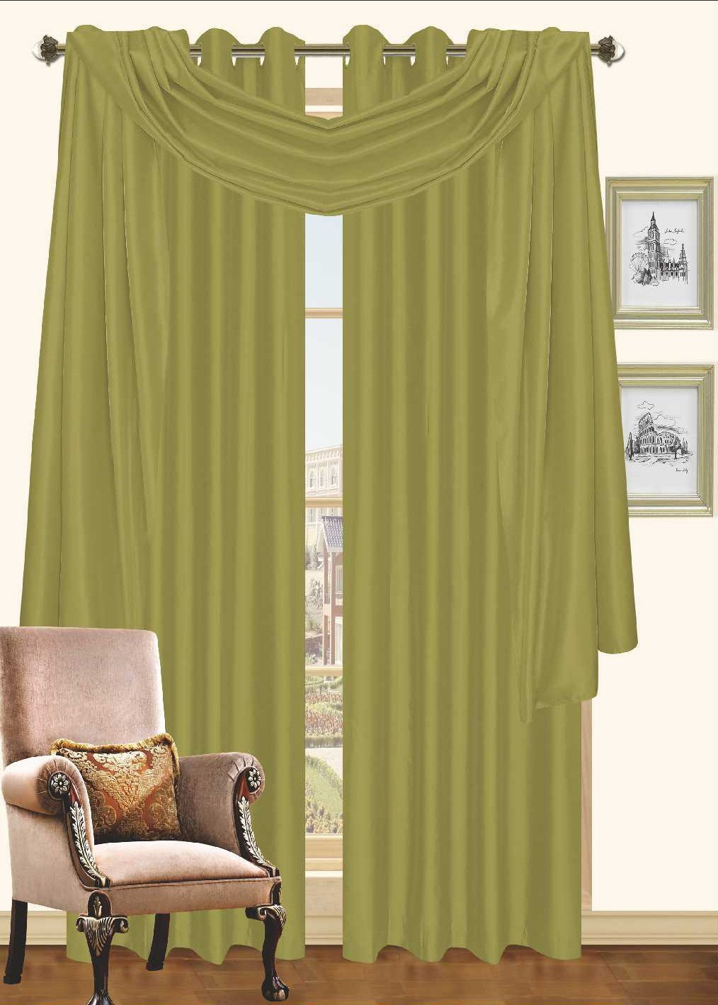 "Holly Collection Window Treatment   Curtain   Faux Silk with Grommet Top 57"" X 90\ by"