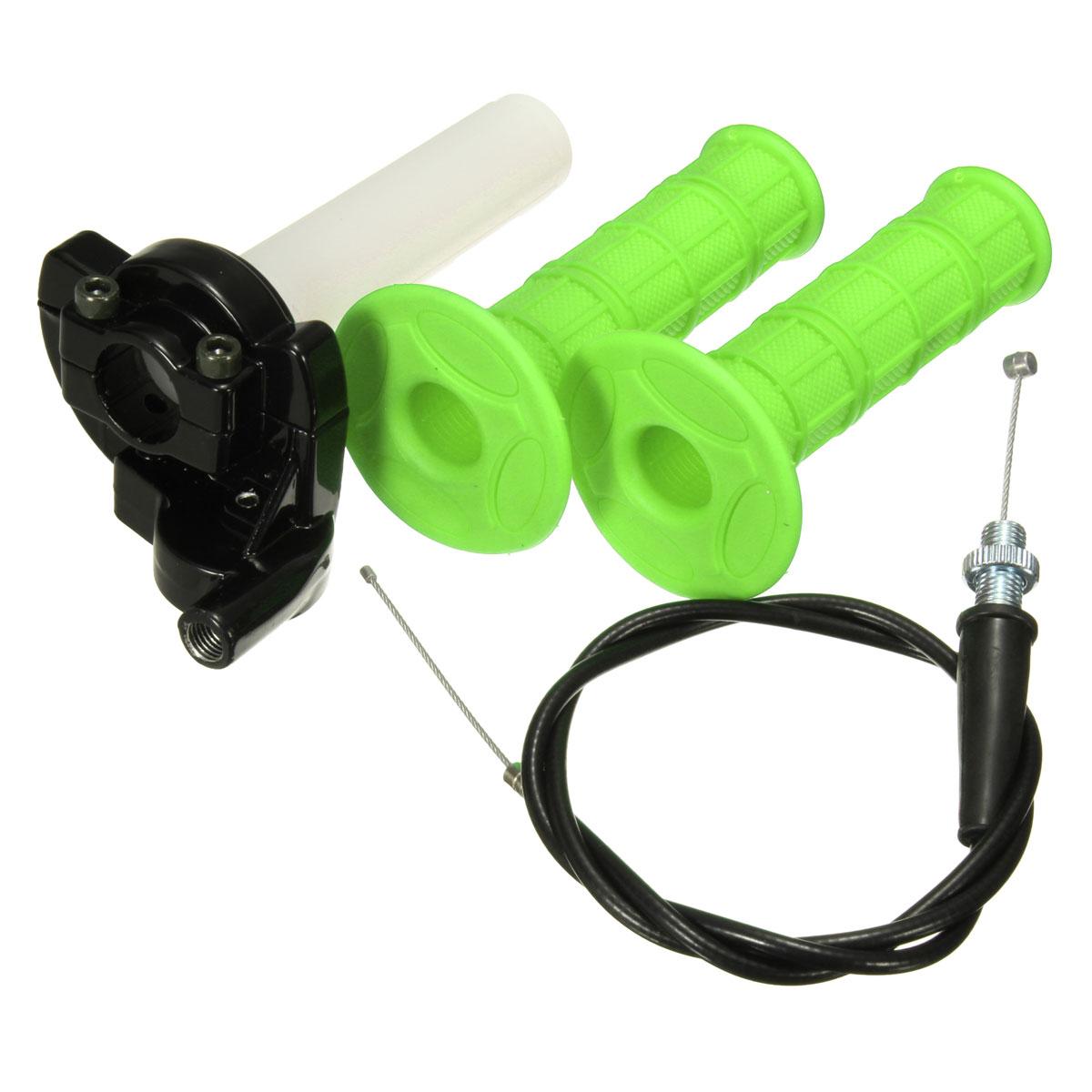 "MATCC Quick Action Throttle Grip Twist Cable For 90 110 125cc ATV Pit Dirt Bike 22mm 7/8"" Handlebar Green"