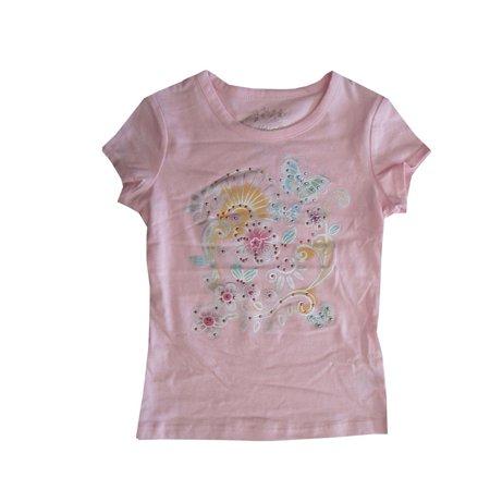 Bongo Little Girls Pink Floral Embroidery Stud Short Sleeved T-Shirt