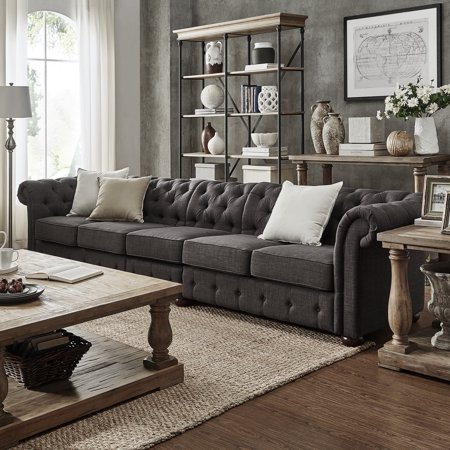 Inspire Q Knightsbridge Dark Grey Extra Long Tufted Csterfield Sofa By