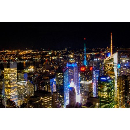 Canvas Print Empire State Building Manhattan New York Night Stretched Canvas 10 x 14](Empire State Building Halloween Night)