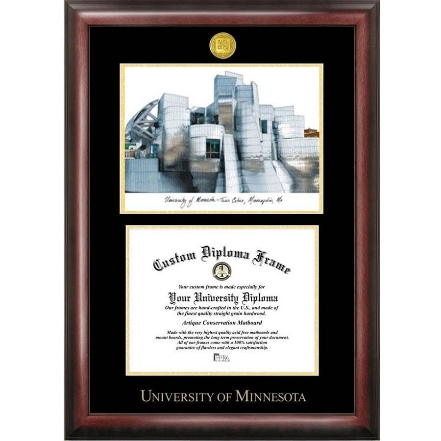 "University of Minnesota 8.5"" x 11"" Gold Embossed Diploma Frame with Campus Images Lithograph"
