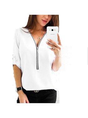 Women Fashion Sexy Zipper Deep V-neck Slim Fit Waist Shirt Casual Plus Size Tops
