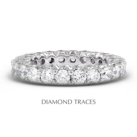 Diamond Traces UD-EWB460-3920 18K White Gold Prong & Bezel Setting, 4.00 Carat Total Natural Diamonds Modern Eternity Ring - image 1 de 1