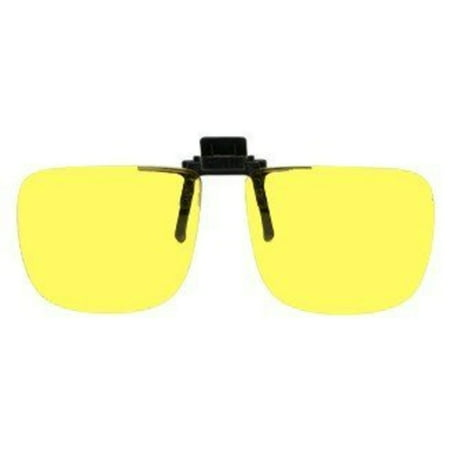 Polycarbonate Clip-on Flip-up Canary Yellow Enhancing Driving Glasses - 60mm Wide X 54mm High (136mm (Yellow Eye Glasses)