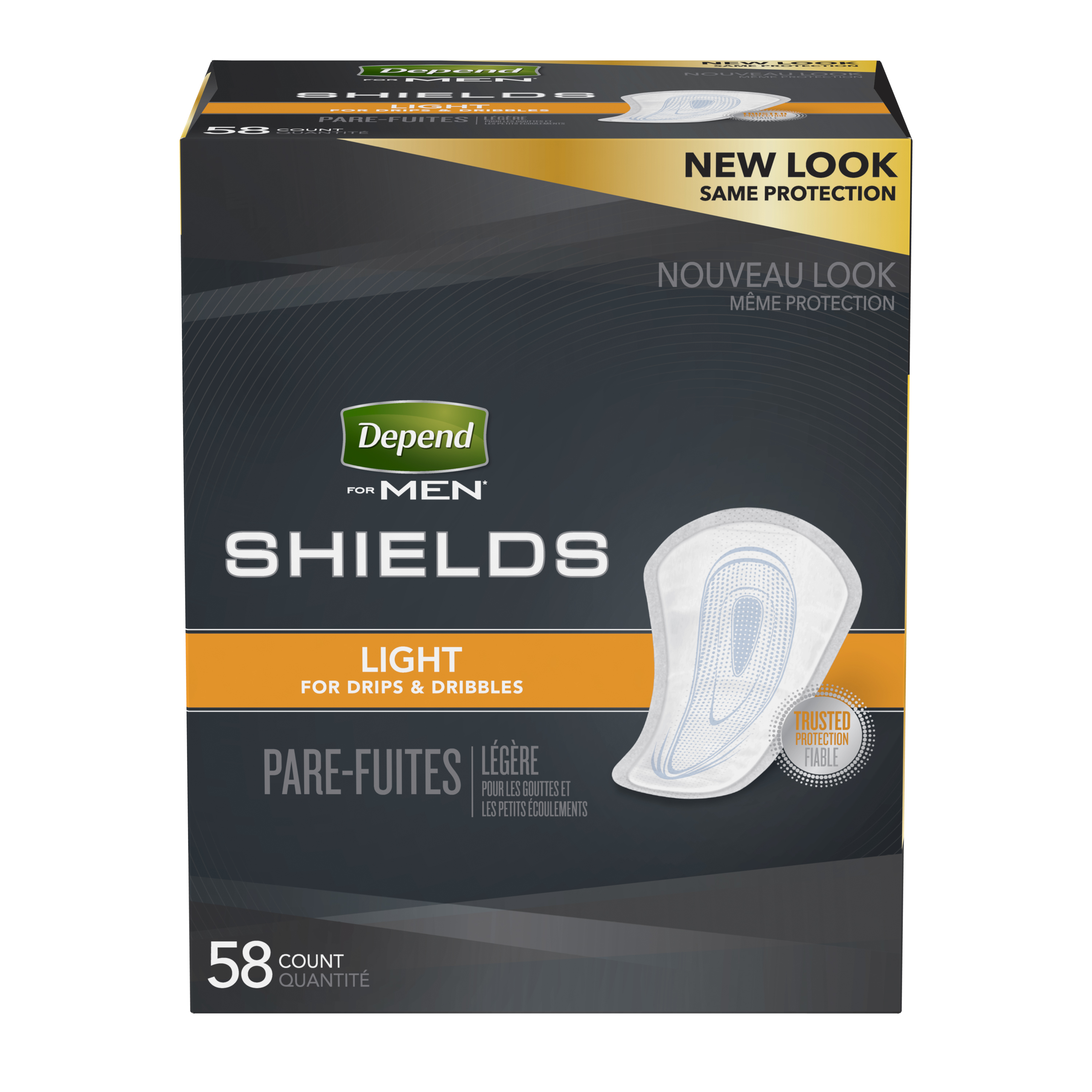 Depend Incontinence Shields for Men, Light Absorbency, 58 Ct