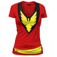 X-Men Dark Phoenix Costume Junior Ladies V-Neck T-Shirt