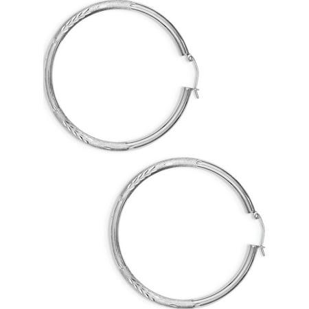 925 Sterling Silver Rhodium-plated 3mm Satin Diamond-cut Hoop (50x52mm) Earrings - image 2 de 2