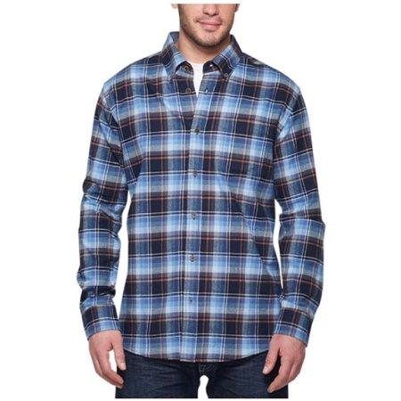 - Weatherproof Vintage Mens Lightweight Plaid Flannel Shirt (XX-Large, Navy)