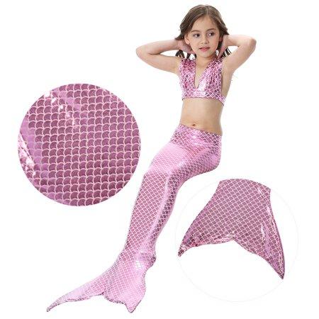 7e6c5a8ec2 Girl's 3pcs Mermaid Tail Swimmable Princess Bikini Set Swimsuit ...