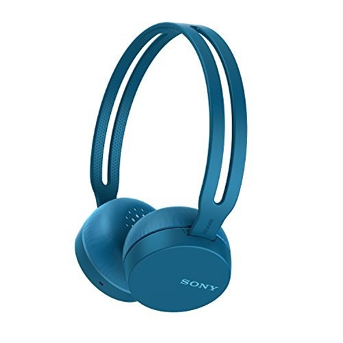 Sony WH-CH400 - Headphones with mic - on-ear - Bluetooth - wireless - NFC - active noise canceling - blue