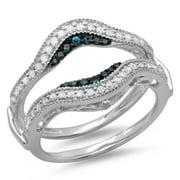 050 carat ctw 14k gold round blue white diamond ladies wedding enhancer guard - Wedding Ring Enhancers