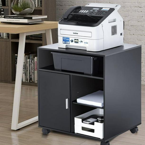 Printer Stand, Movable Storage Filing Cabinet, Wooden Under Desk
