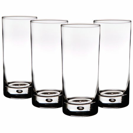 Red Series 17 oz. Bubble-Bottomed Round Cut Highball Drinking Glasses, Set of - Light Up Drinking Glasses