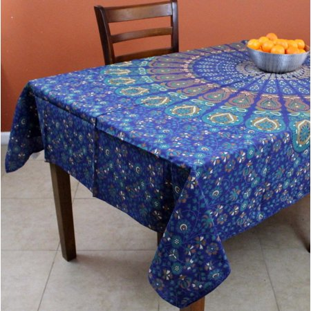 Peacock Tablecloth (Handmade Cotton Sanganer Peacock Floral Tablecloth Rectangular 60 x 90 inches Blue Tan)