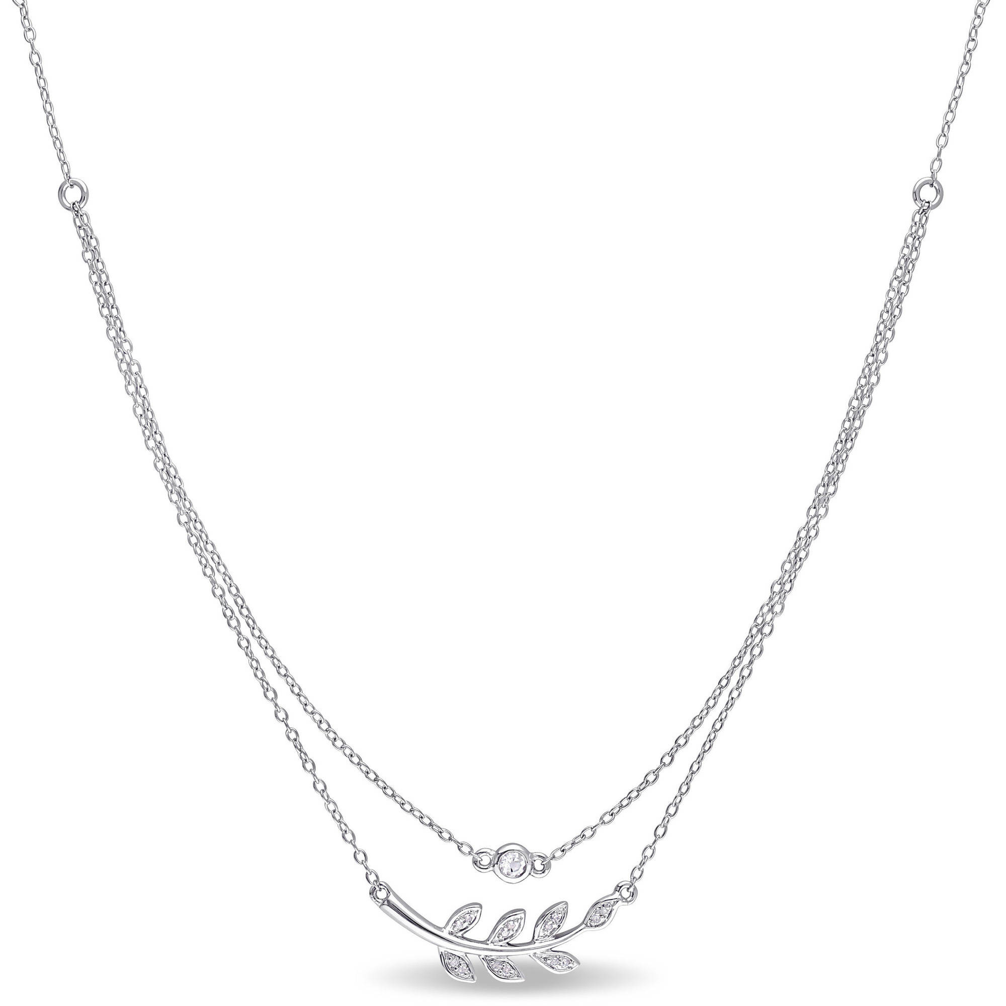 "Miabella 1 10 Carat T.G.W. White Topaz and Diamond-Accent Sterling Silver Layered Leaf Necklace, 17"" by Miabella"
