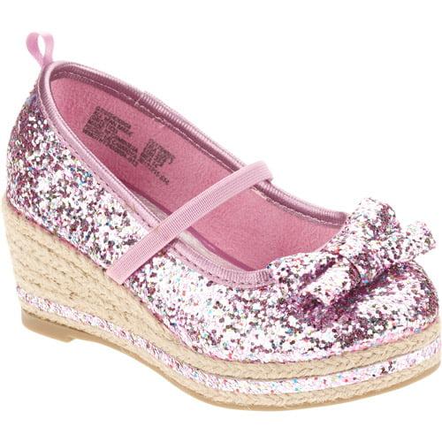 Healthtex Toddler Girl's Pink Glitter Dress Wedge
