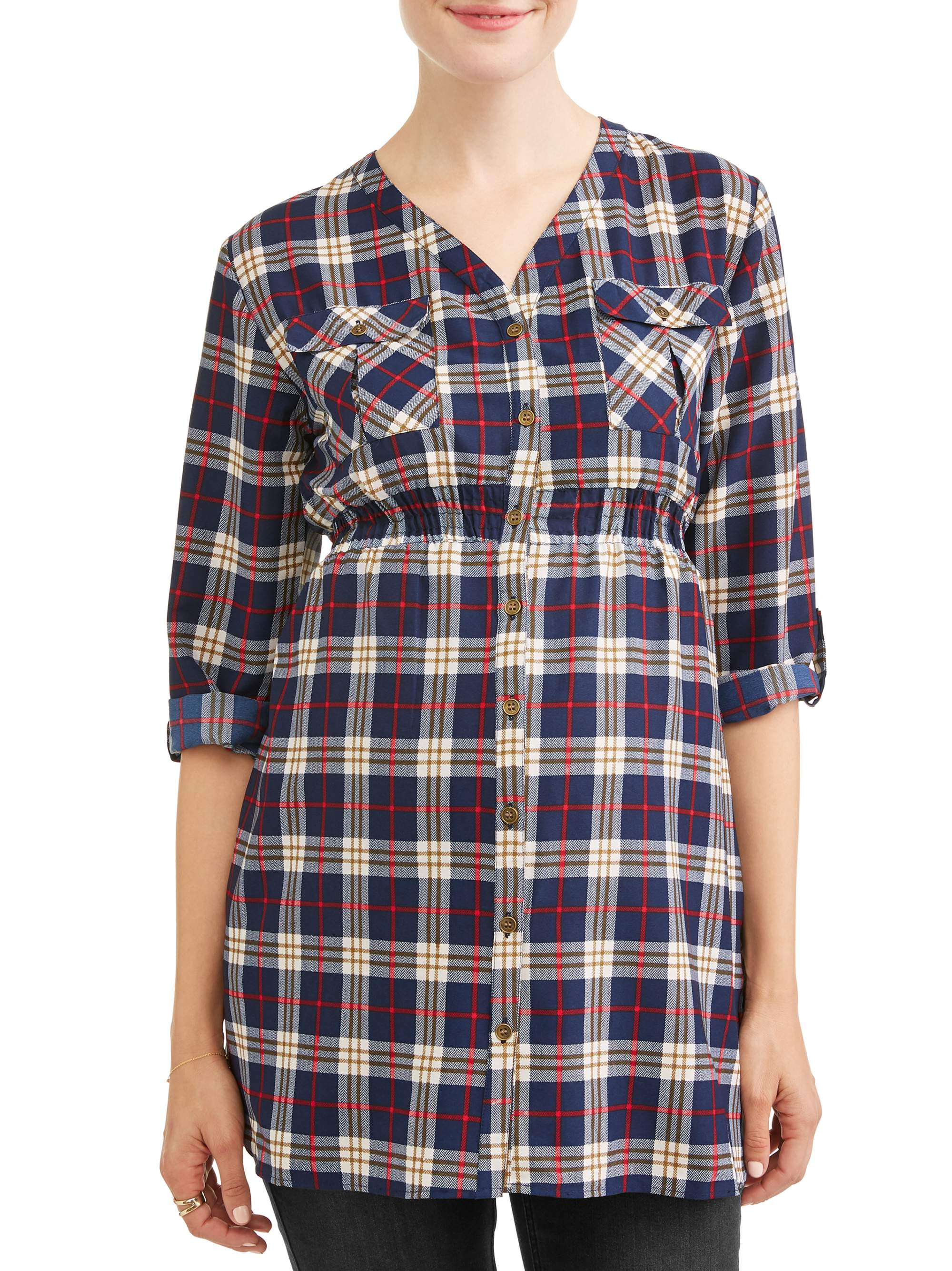 Maternity Two Pocket Plaid Top - Available in Plus Sizes