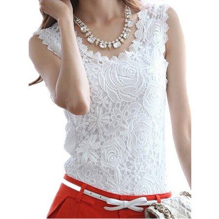 - ZANZEA Women's Sleeveless Floral Lace Crochet Tank Tops